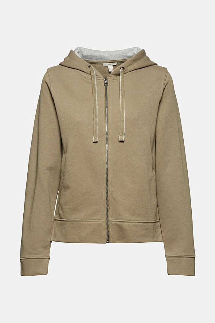 Recycled: zip-up hoodie containing organic cotton, LIGHT KHAKI, detail image number 6