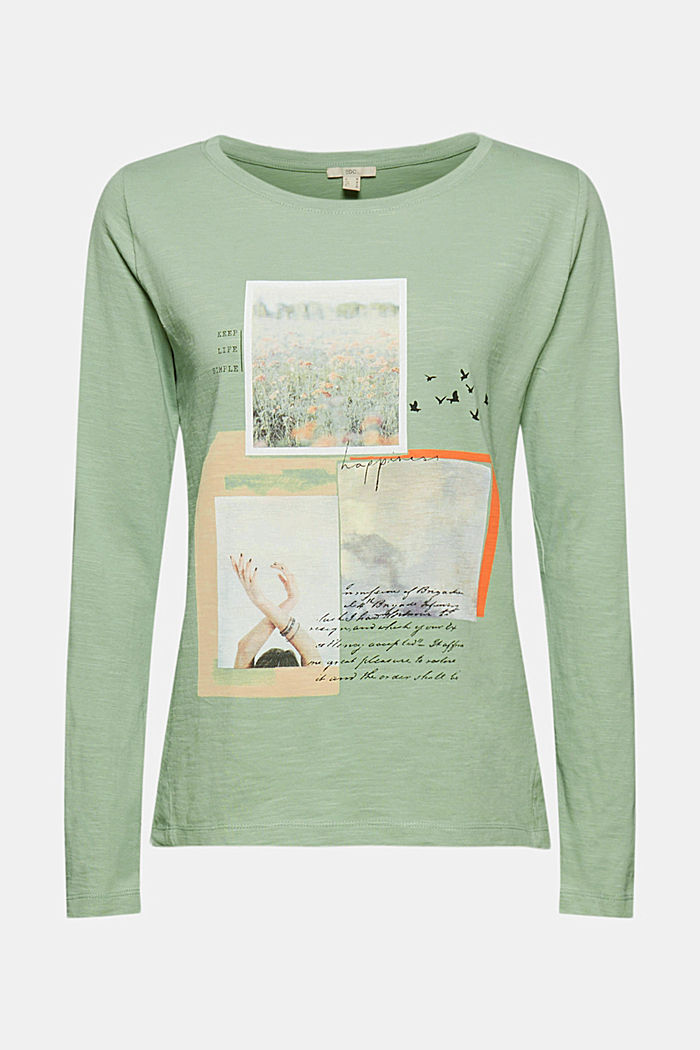 Long sleeve top made of 100% organic cotton, DUSTY GREEN, detail image number 6