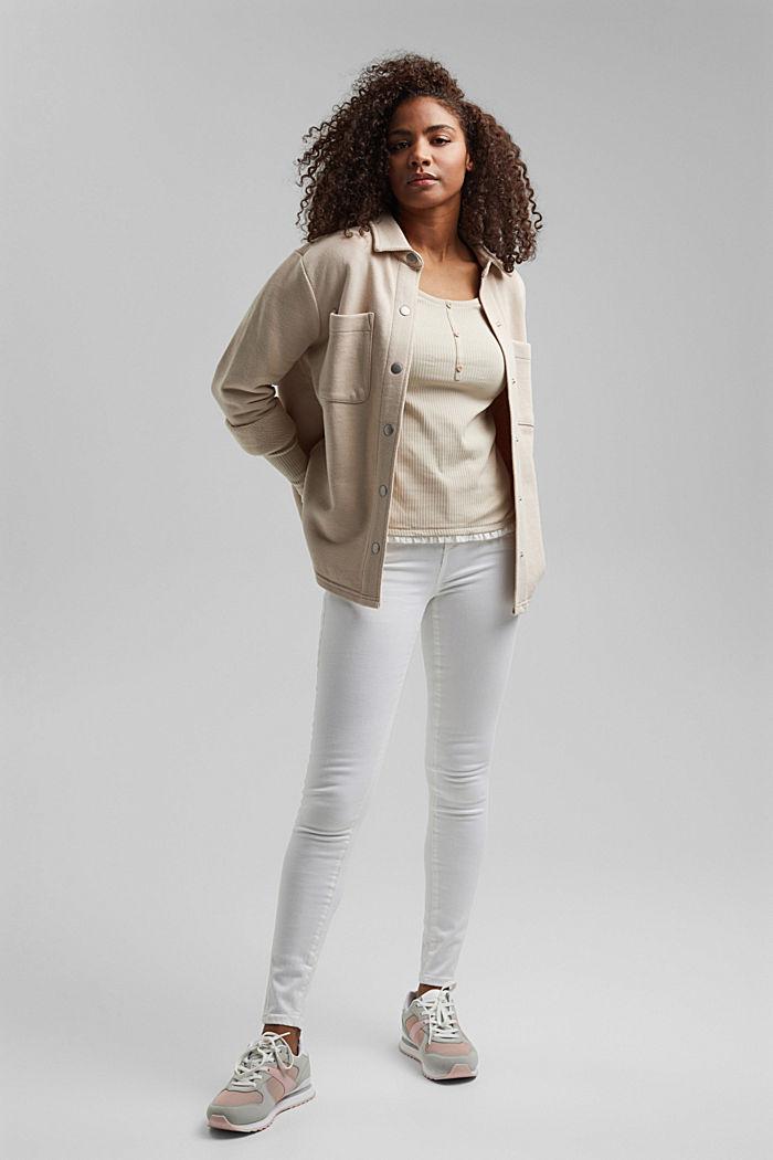 Henley-Shirt mit Rüschen, Organic Cotton, BEIGE, detail image number 1