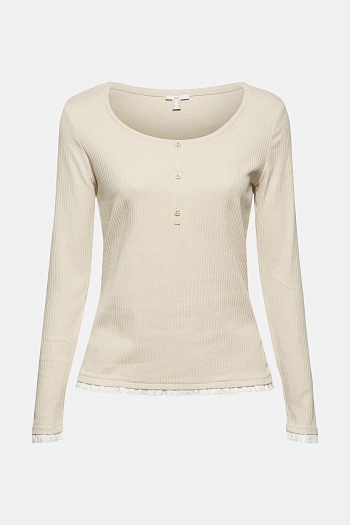 Henley-Shirt mit Rüschen, Organic Cotton