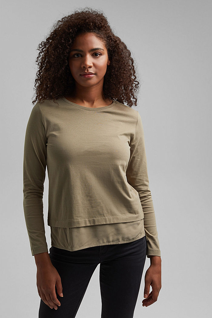 Organic cotton long sleeve top with an inset trim, LIGHT KHAKI, detail image number 0