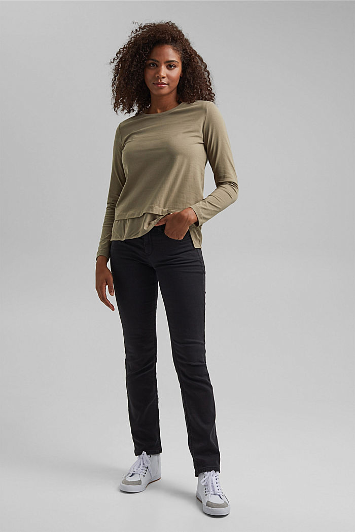 Organic cotton long sleeve top with an inset trim, LIGHT KHAKI, detail image number 5