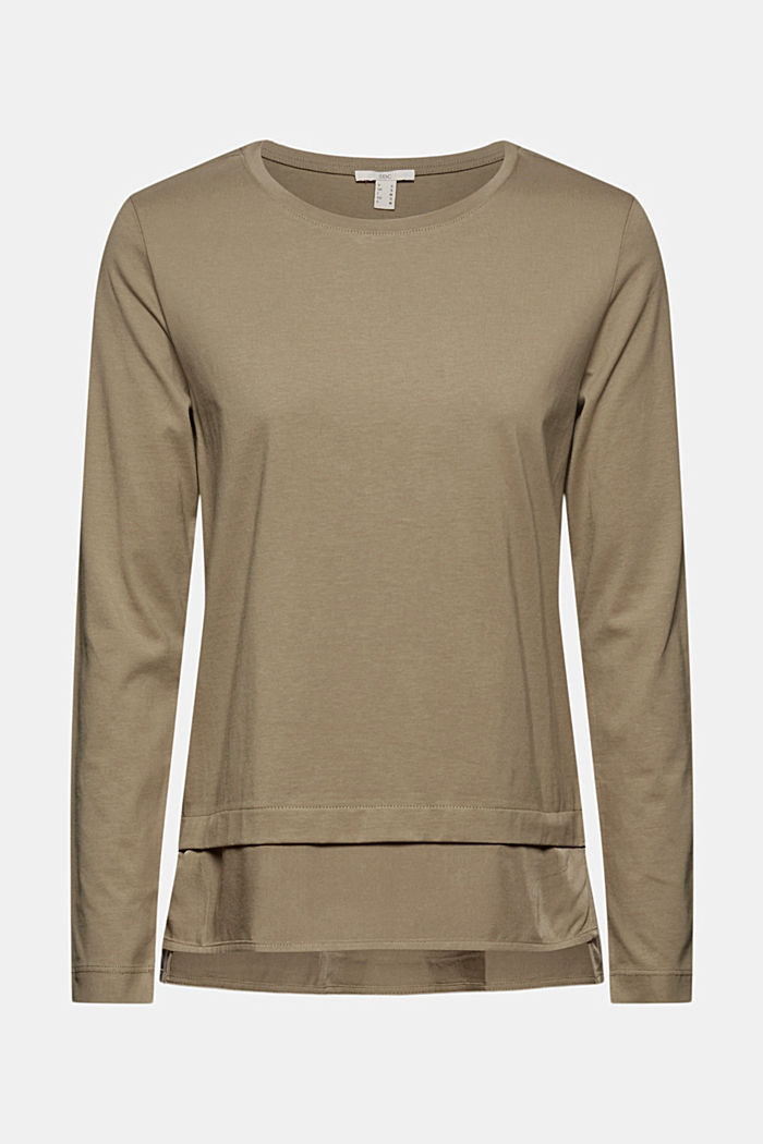 Organic cotton long sleeve top with an inset trim, LIGHT KHAKI, detail image number 6