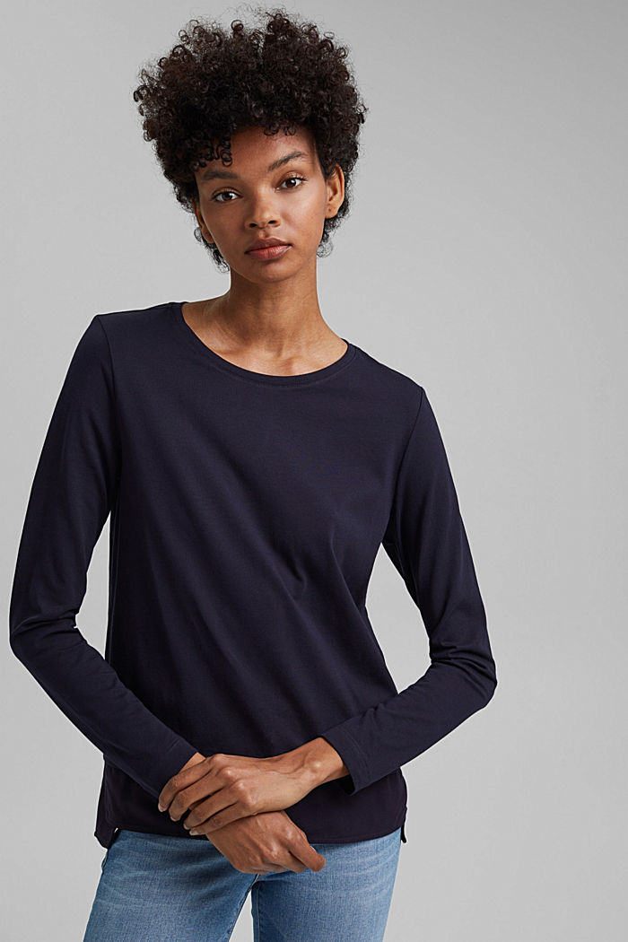Organic cotton long sleeve top with an inset trim, NAVY, detail image number 0