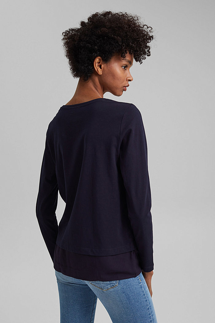 Organic cotton long sleeve top with an inset trim, NAVY, detail image number 3