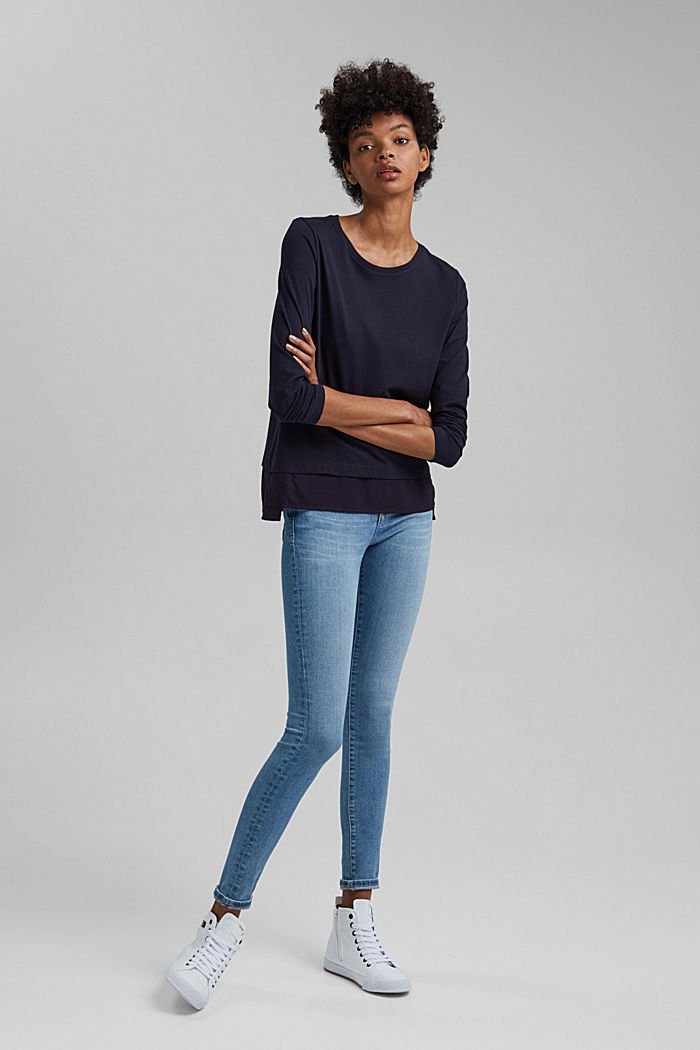 Organic cotton long sleeve top with an inset trim, NAVY, detail image number 1