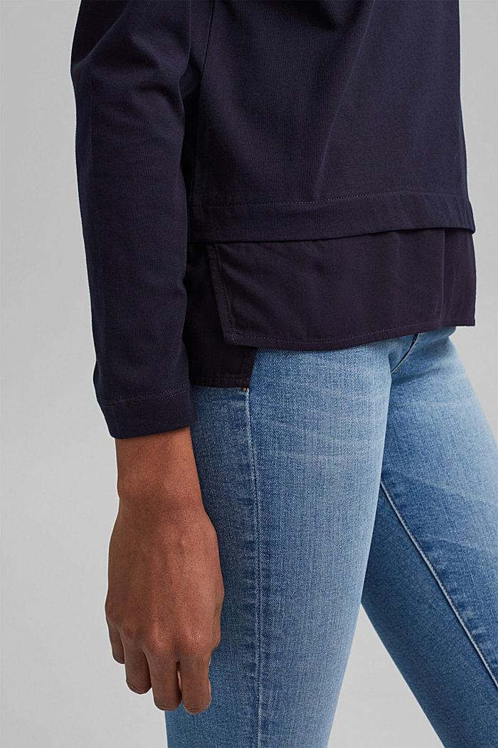 Longsleeve mit Besatz mit Organic Cotton, NAVY, detail image number 2