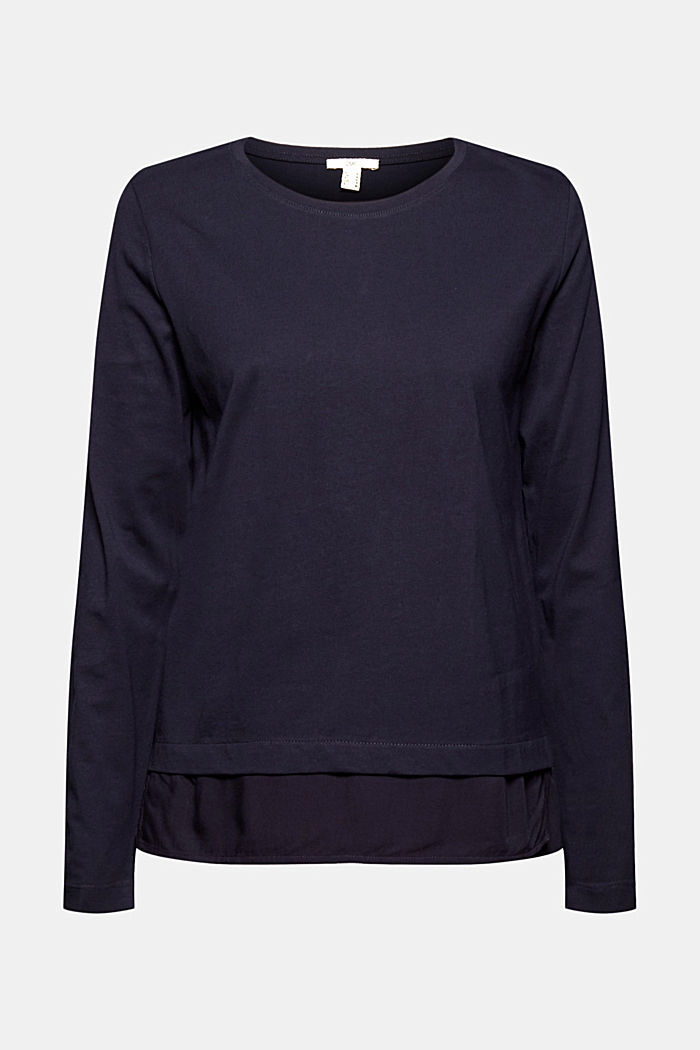 Organic cotton long sleeve top with an inset trim, NAVY, detail image number 6