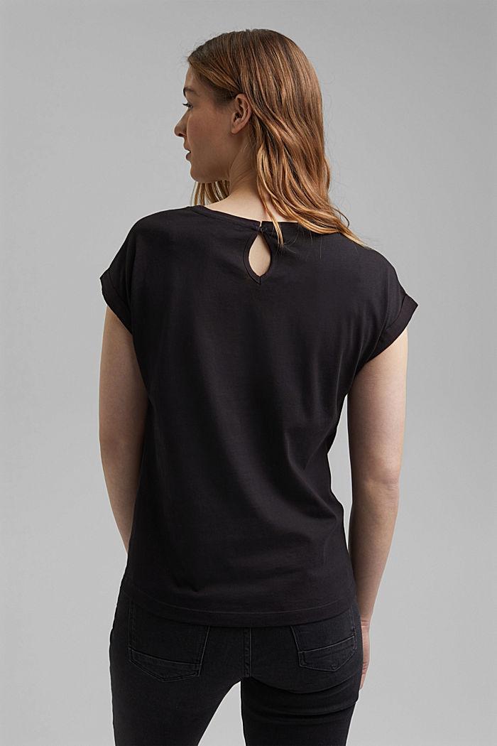 T-shirt à teneur en coton biologique et viscose, BLACK, detail image number 3