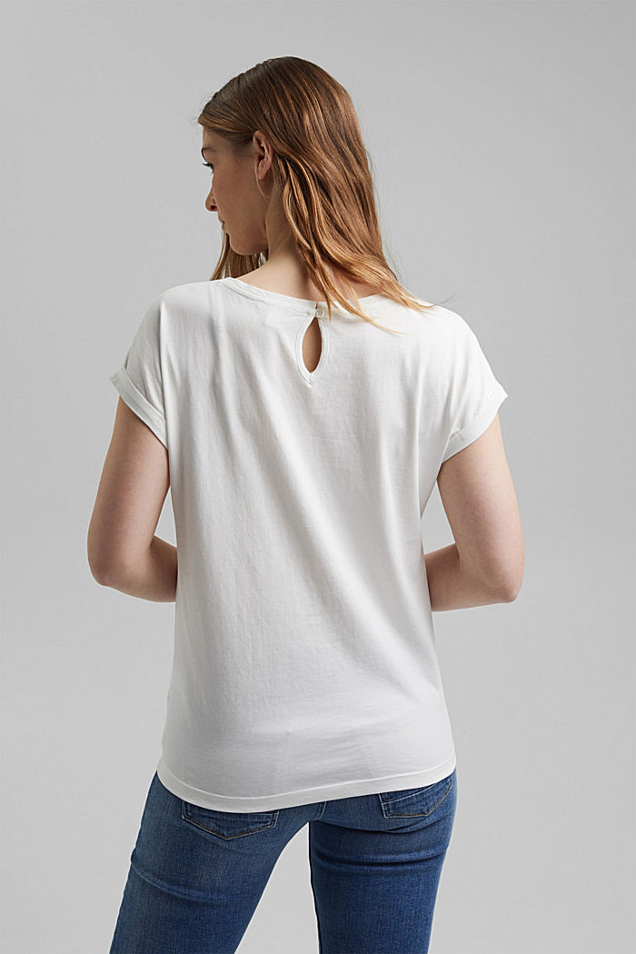 T-Shirt mit Organic Cotton und Viskose, OFF WHITE, detail image number 3
