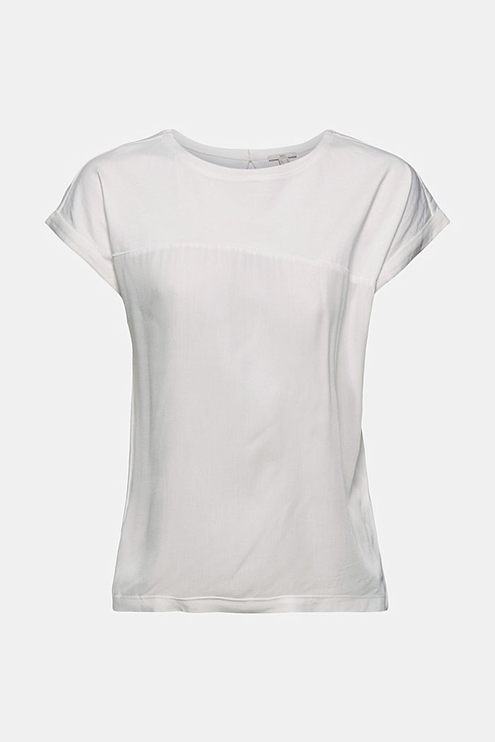 T-Shirt mit Organic Cotton und Viskose, OFF WHITE, detail image number 6