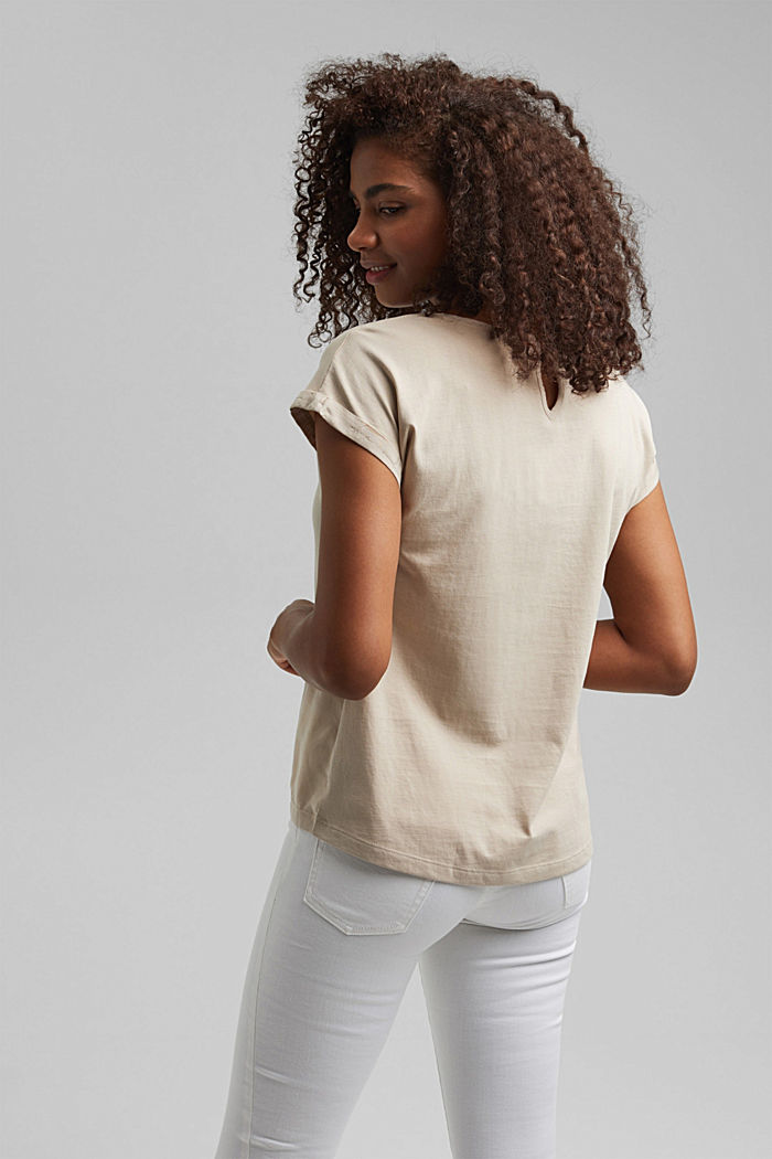 T-shirt with organic cotton and viscose, BEIGE, detail image number 3