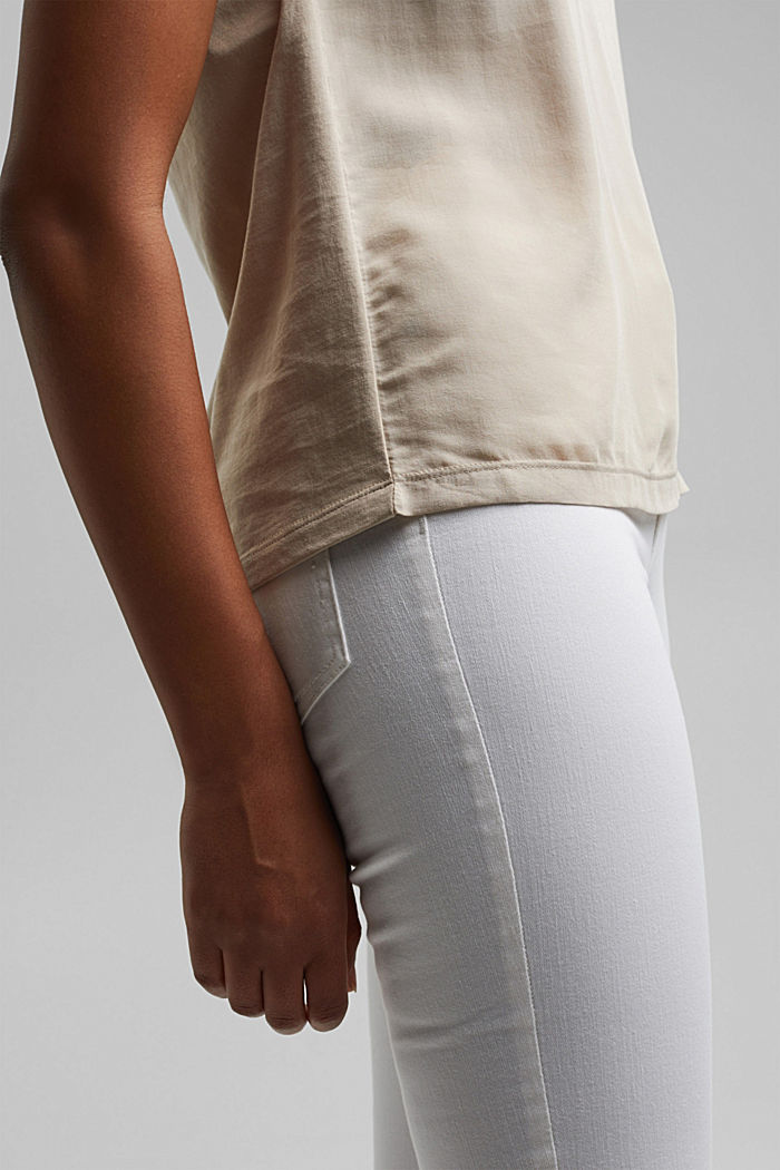 T-shirt with organic cotton and viscose, BEIGE, detail image number 2