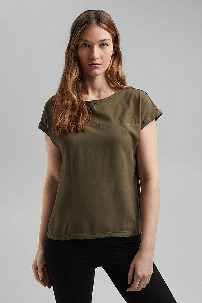Camiseta con algodón ecológico y viscosa, KHAKI GREEN, detail image number 0