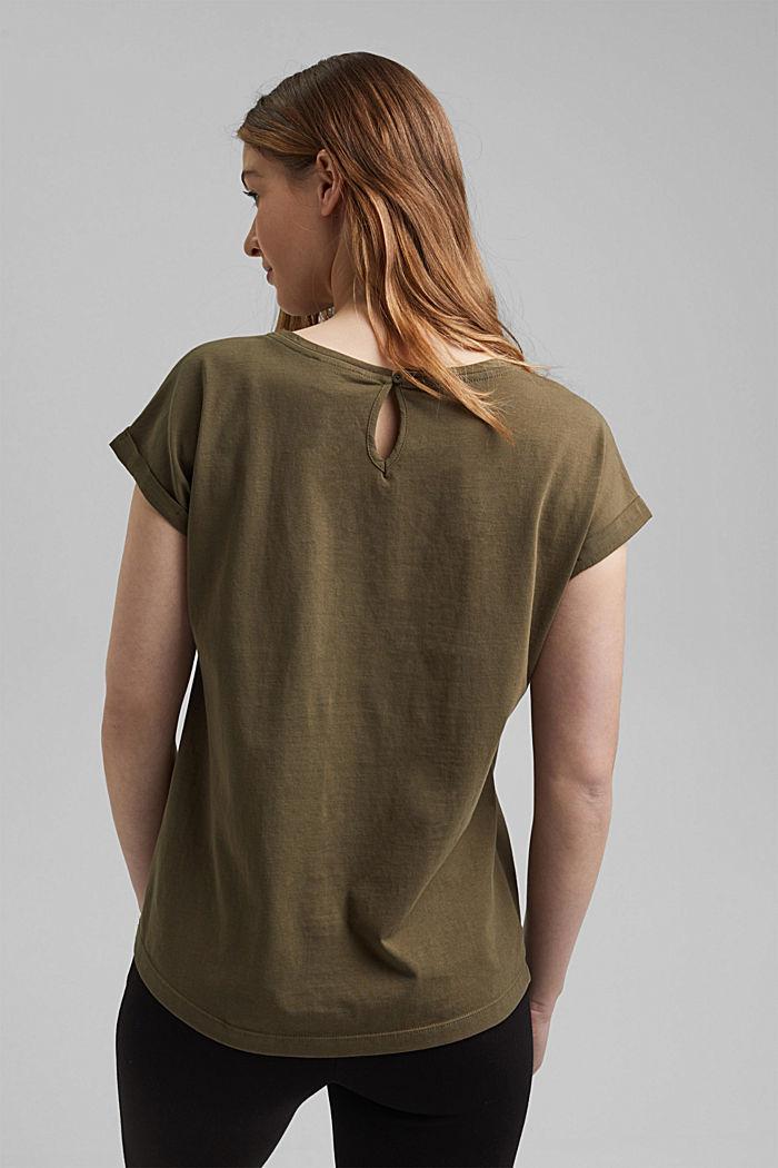 Camiseta con algodón ecológico y viscosa, KHAKI GREEN, detail image number 3