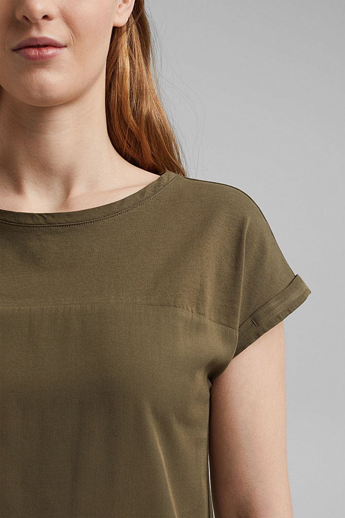 Camiseta con algodón ecológico y viscosa, KHAKI GREEN, detail image number 2