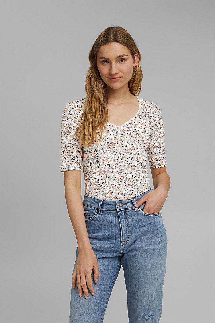 Floral ribbed top made of organic cotton, NEW OFF WHITE, detail image number 0