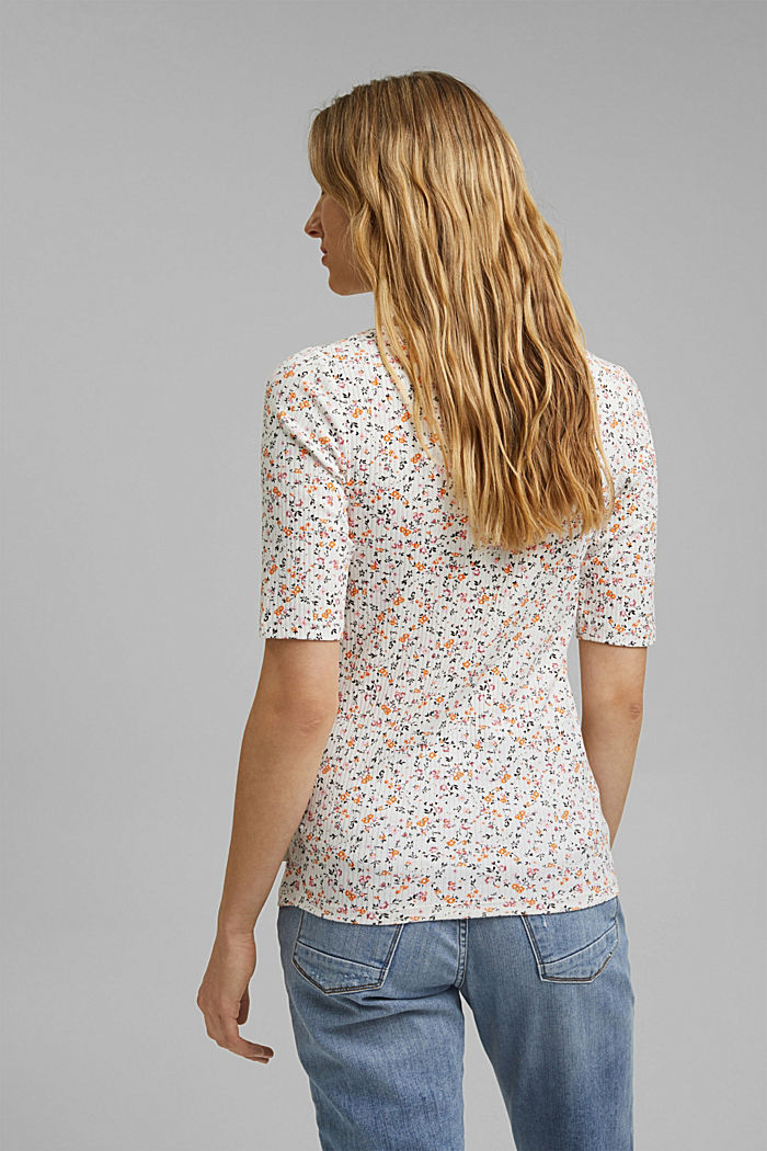 Floral ribbed top made of organic cotton, NEW OFF WHITE, detail image number 3