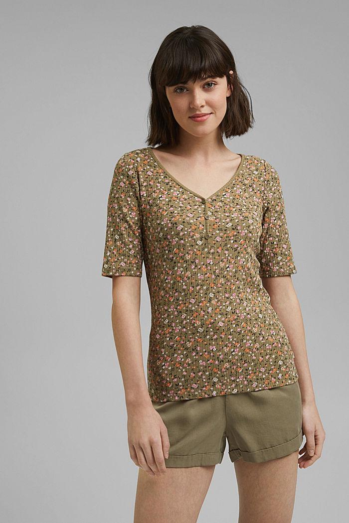 Geblümtes Ripp-Shirt aus Bio-Baumwolle, LIGHT KHAKI, detail image number 0