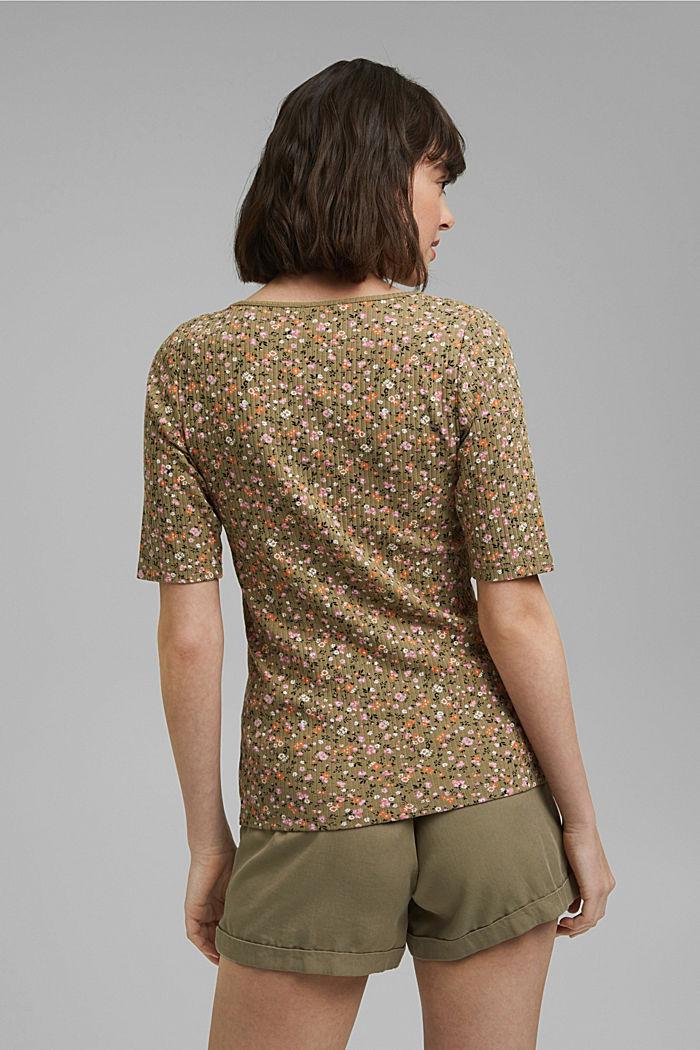 Geblümtes Ripp-Shirt aus Bio-Baumwolle, LIGHT KHAKI, detail image number 3