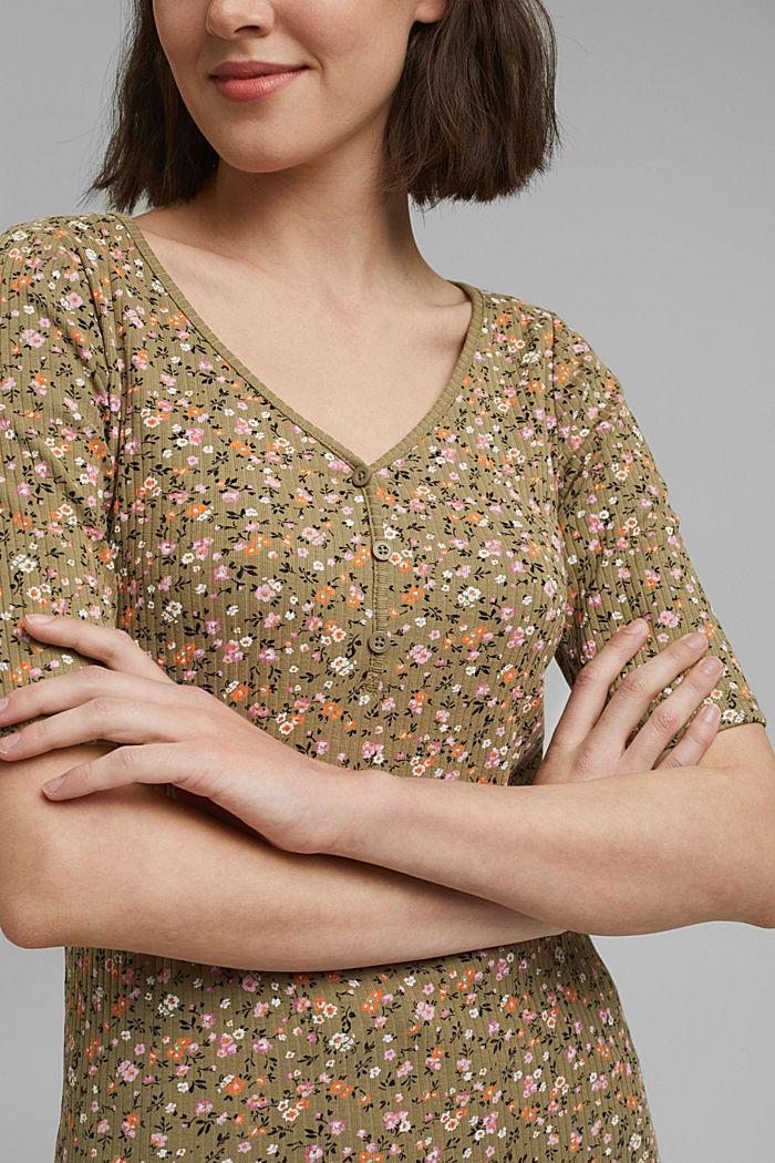 Geblümtes Ripp-Shirt aus Bio-Baumwolle, LIGHT KHAKI, detail image number 2