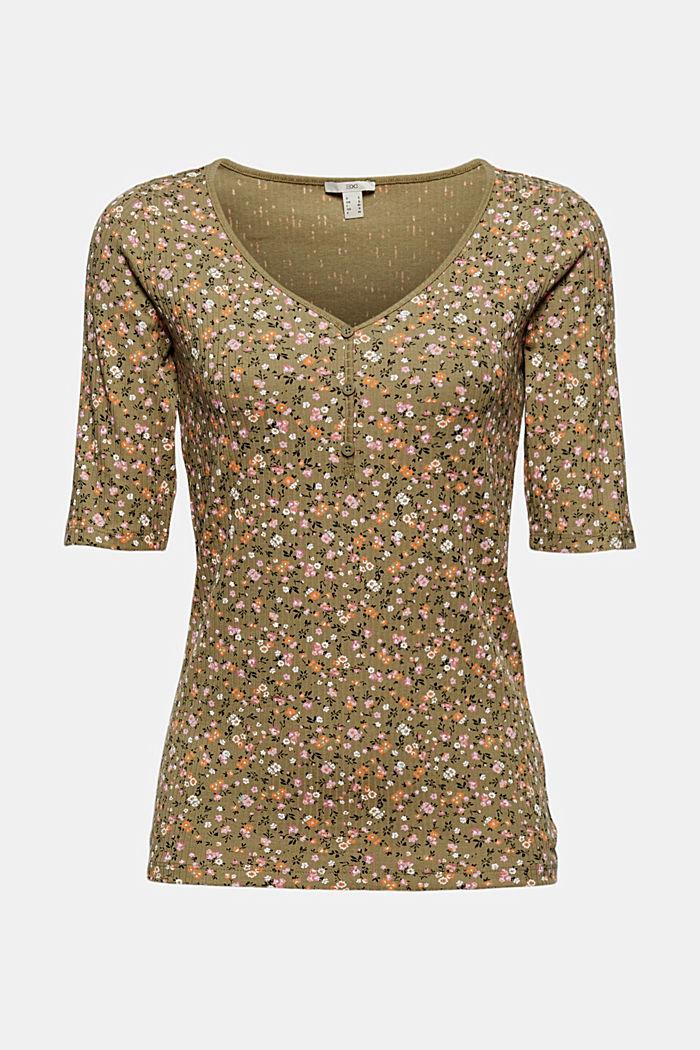 Geblümtes Ripp-Shirt aus Bio-Baumwolle, LIGHT KHAKI, detail image number 5
