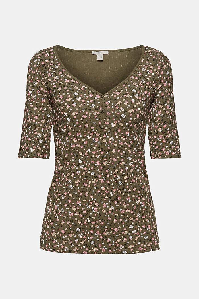 Henley T-shirt made of organic cotton, KHAKI GREEN, detail image number 6