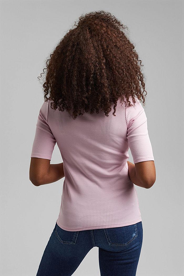 Blomstret rib-shirt økologisk bomuld, PINK, detail image number 3