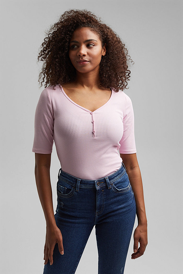 Blomstret rib-shirt økologisk bomuld, PINK, detail image number 5