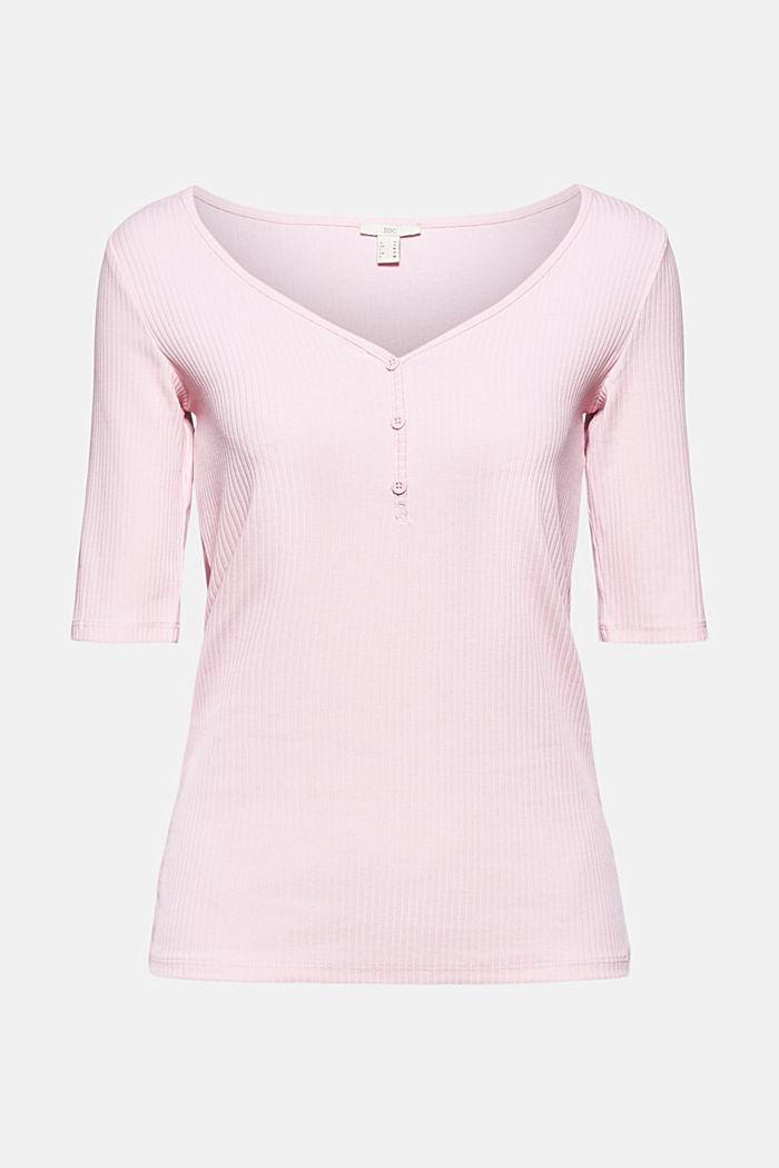 Blomstret rib-shirt økologisk bomuld, PINK, detail image number 6