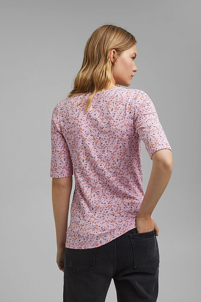 Floral ribbed top made of organic cotton, PINK COLORWAY, detail image number 3