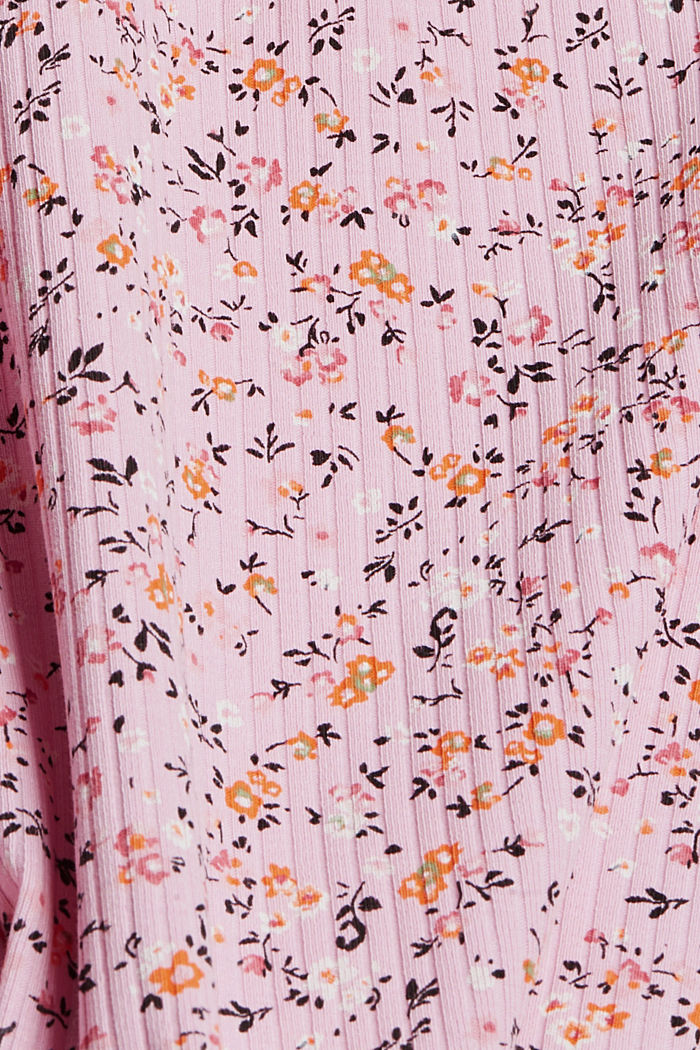 Floral ribbed top made of organic cotton, PINK COLORWAY, detail image number 4
