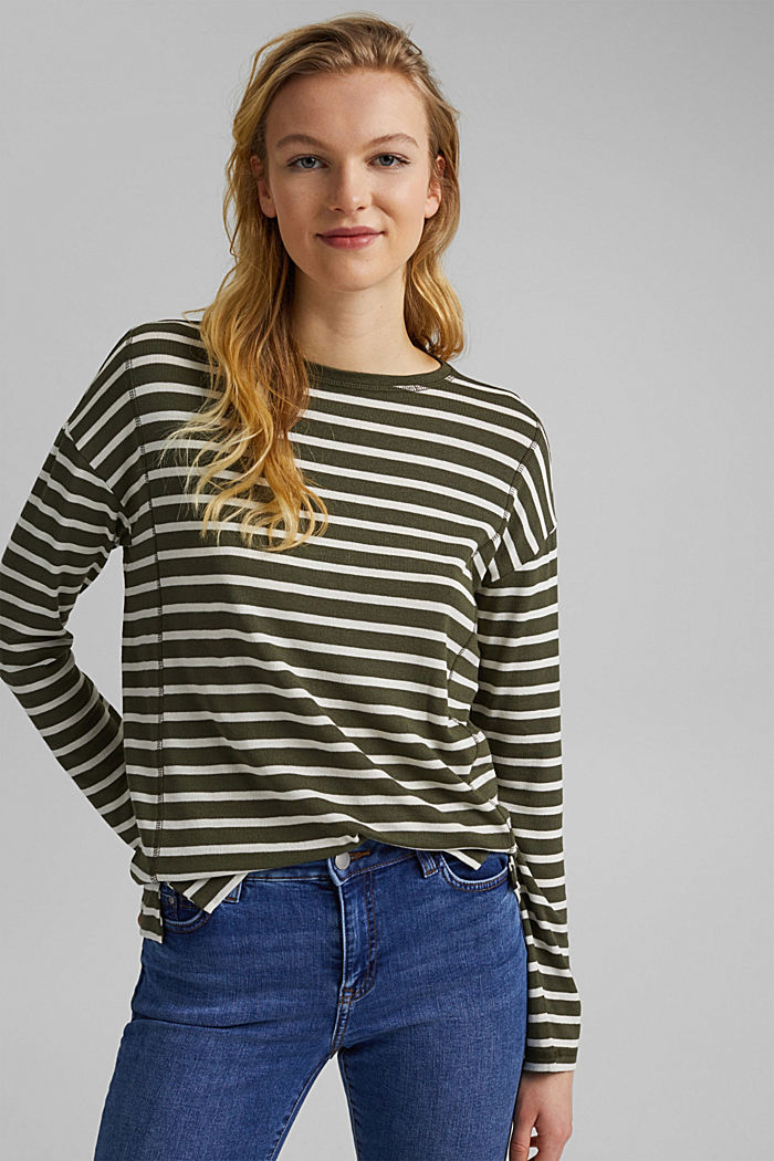 Striped long sleeve top made of LENZING™ ECOVERO™, KHAKI GREEN, detail image number 0