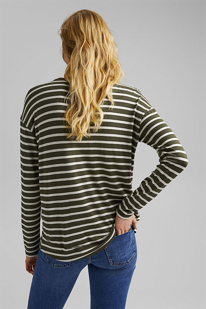 Striped long sleeve top made of LENZING™ ECOVERO™, KHAKI GREEN, detail image number 3