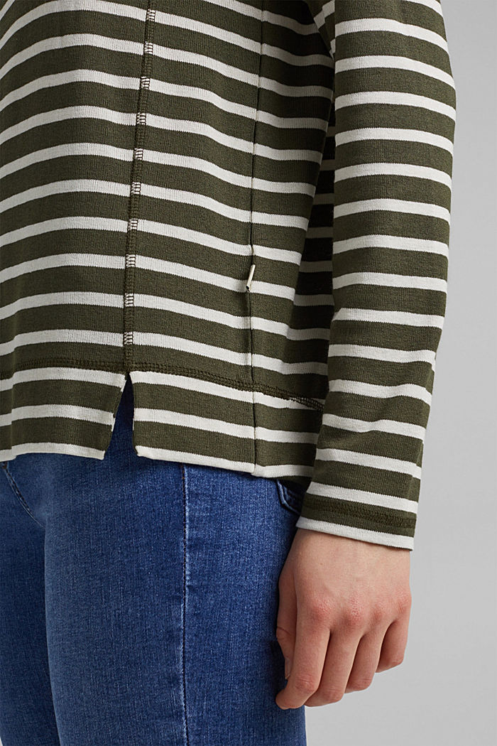 Striped long sleeve top made of LENZING™ ECOVERO™, KHAKI GREEN, detail image number 2