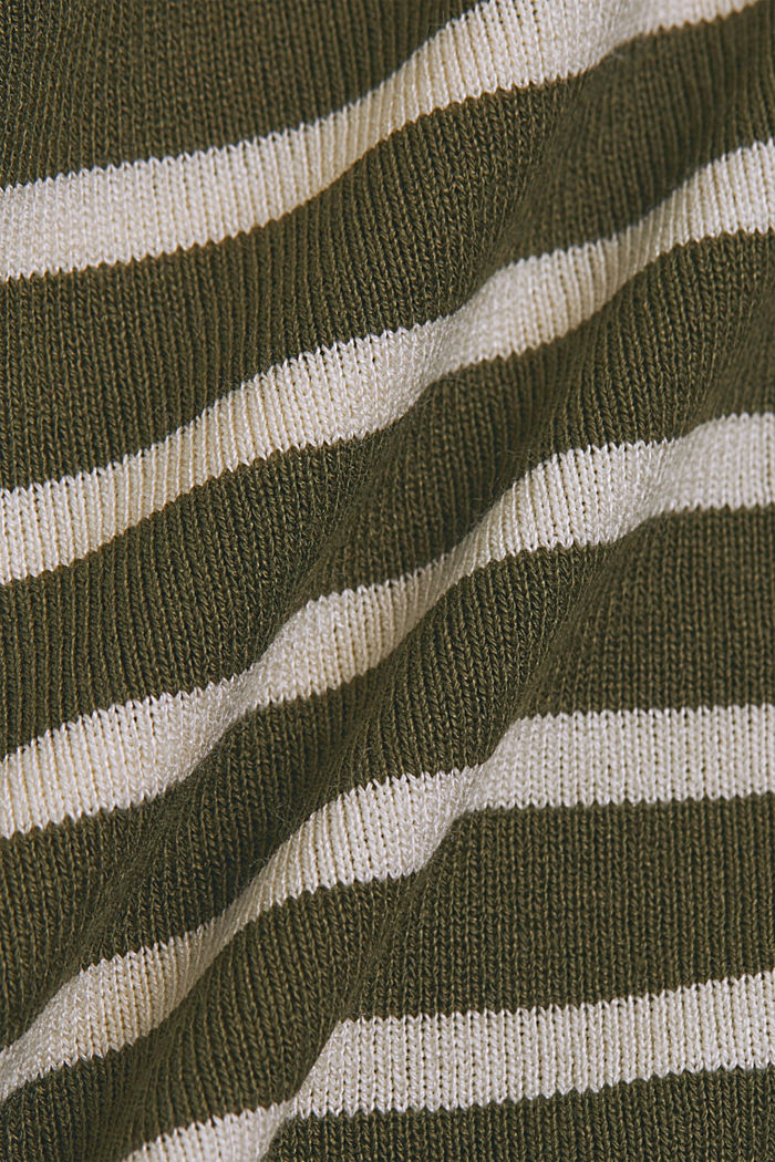 Striped long sleeve top made of LENZING™ ECOVERO™, KHAKI GREEN, detail image number 4