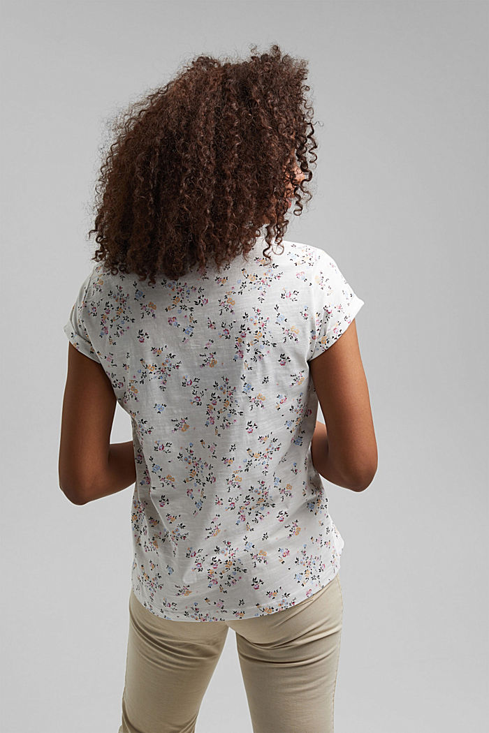 Floral print T-shirt, 100% cotton, OFF WHITE, detail image number 3