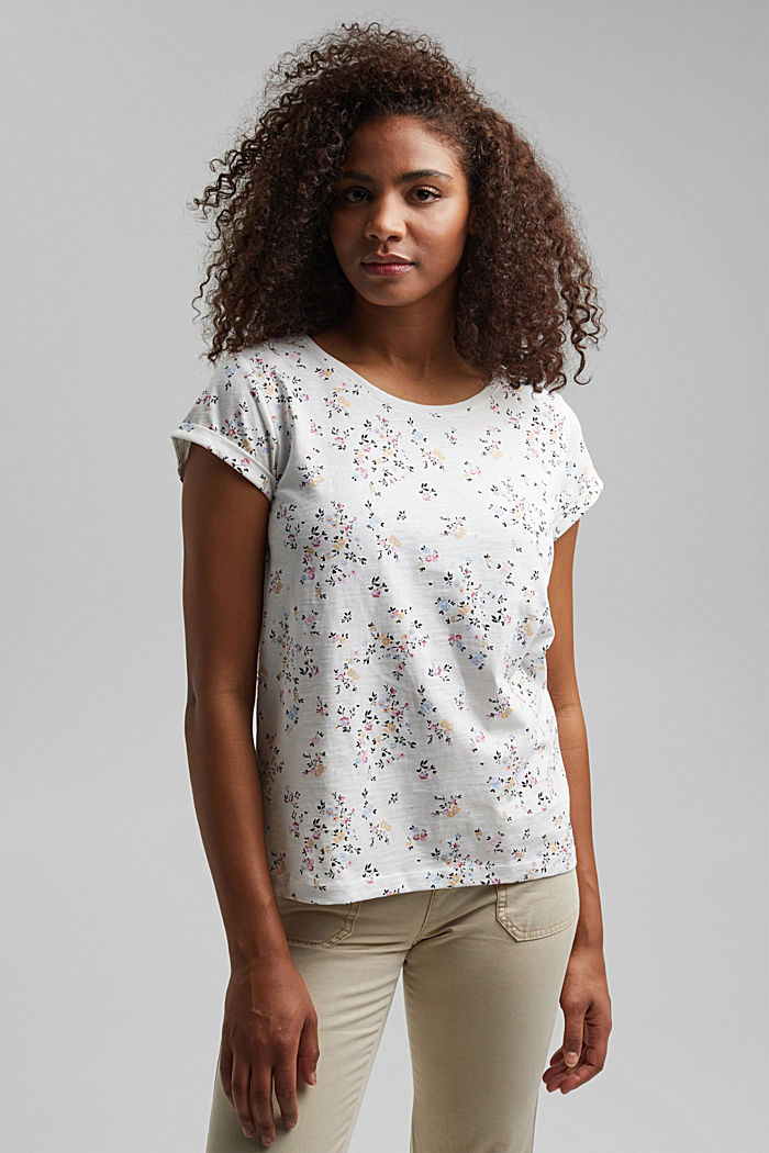 Floral print T-shirt, 100% cotton, OFF WHITE, detail image number 5