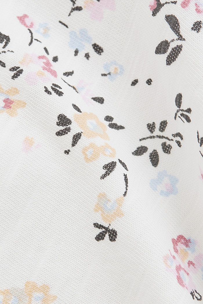 Floral print T-shirt, 100% cotton, OFF WHITE, detail image number 4