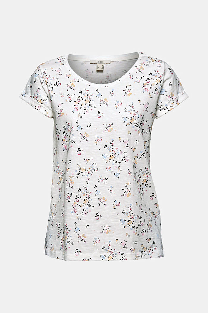 Floral print T-shirt, 100% cotton, OFF WHITE, detail image number 6