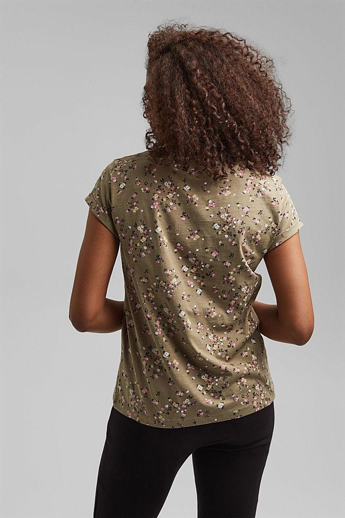 T-Shirt mit Blüten-Print, 100% Baumwolle, LIGHT KHAKI, detail image number 3