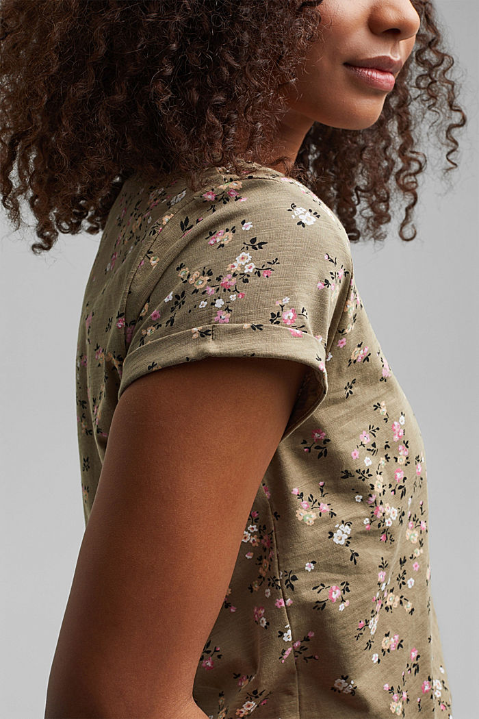 T-Shirt mit Blüten-Print, 100% Baumwolle, LIGHT KHAKI, detail image number 2