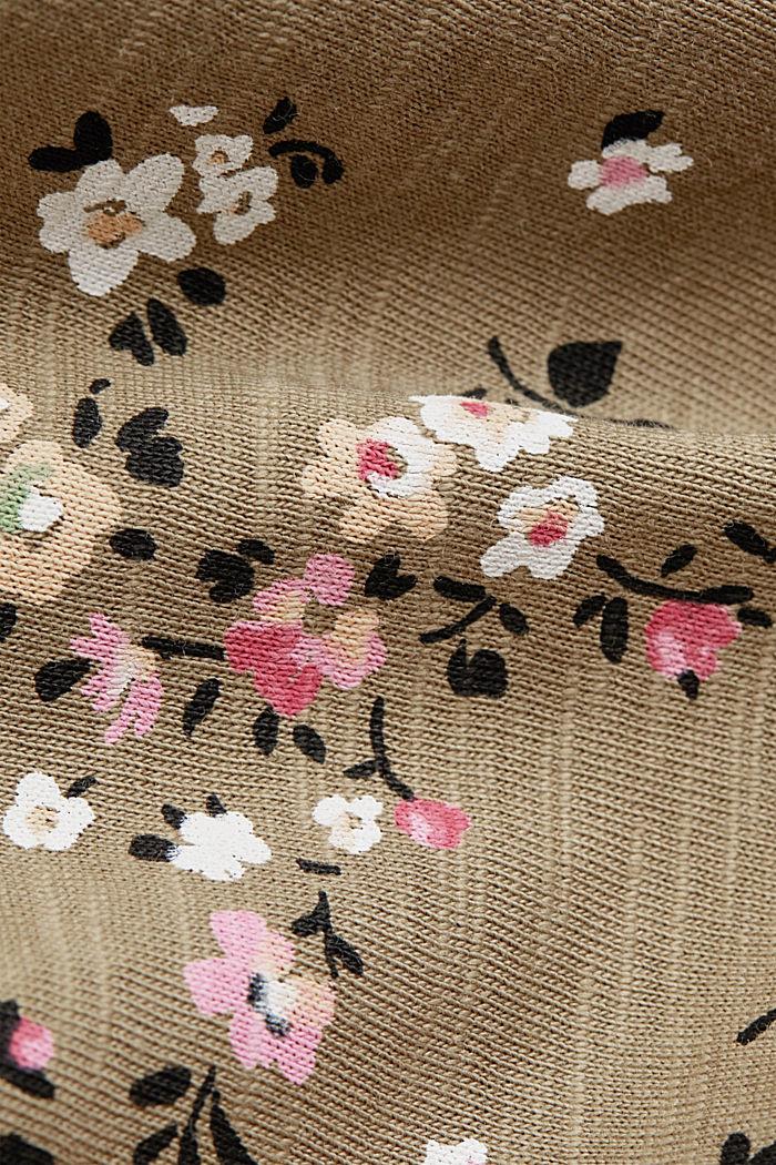 T-Shirt mit Blüten-Print, 100% Baumwolle, LIGHT KHAKI, detail image number 4
