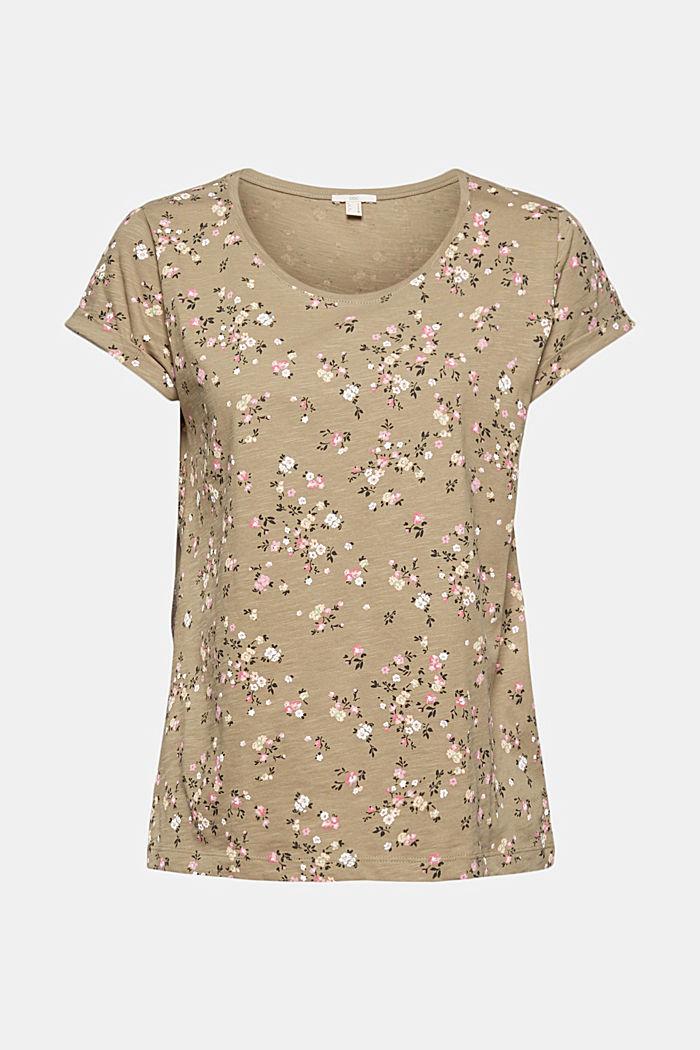 T-Shirt mit Blüten-Print, 100% Baumwolle, LIGHT KHAKI, detail image number 5