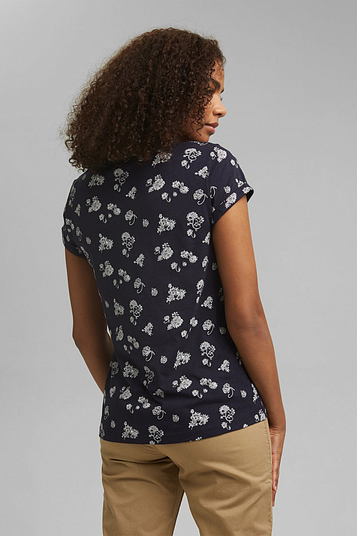Floral print T-shirt, 100% cotton, NAVY, detail image number 3