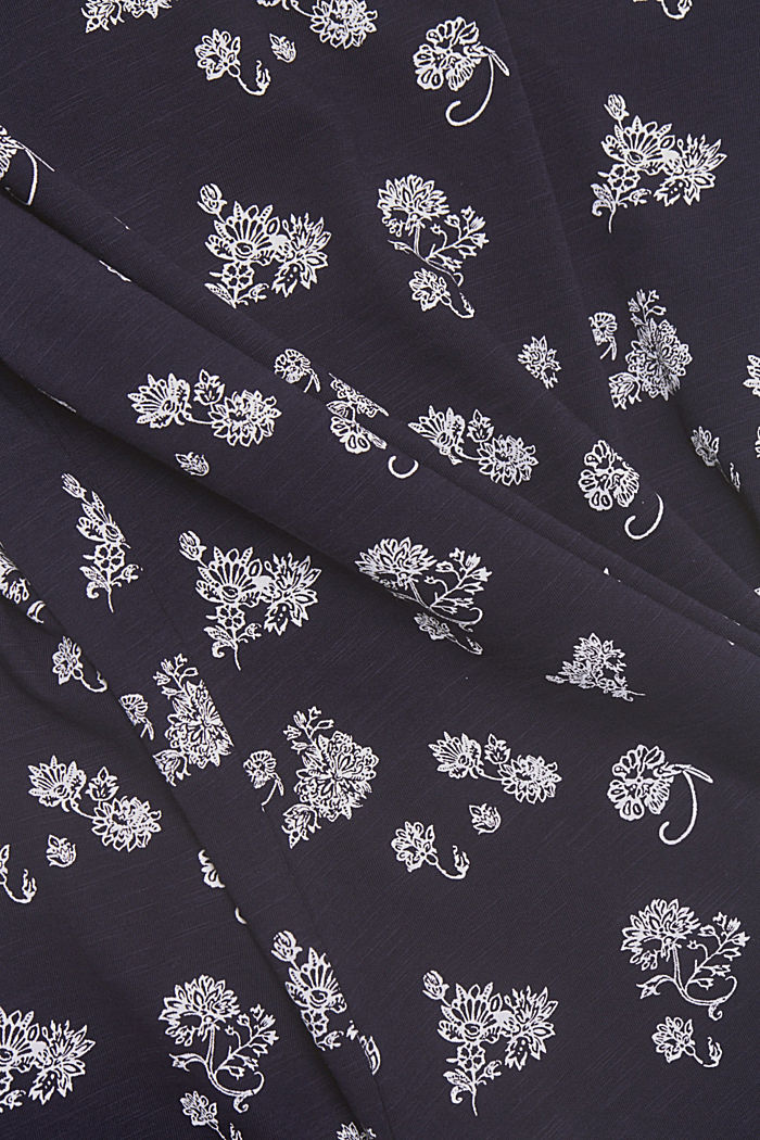 Floral print T-shirt, 100% cotton, NAVY, detail image number 4