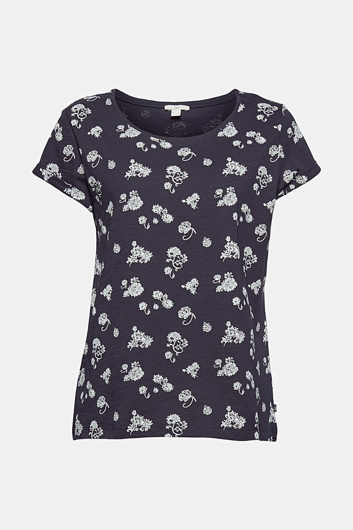 Floral print T-shirt, 100% cotton, NAVY, detail image number 6