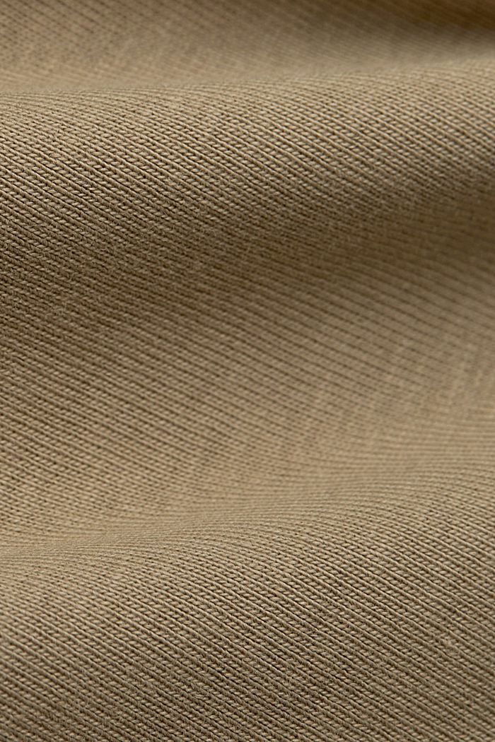 Ribbed T-shirt with a band collar, 100% organic cotton, LIGHT KHAKI, detail image number 4