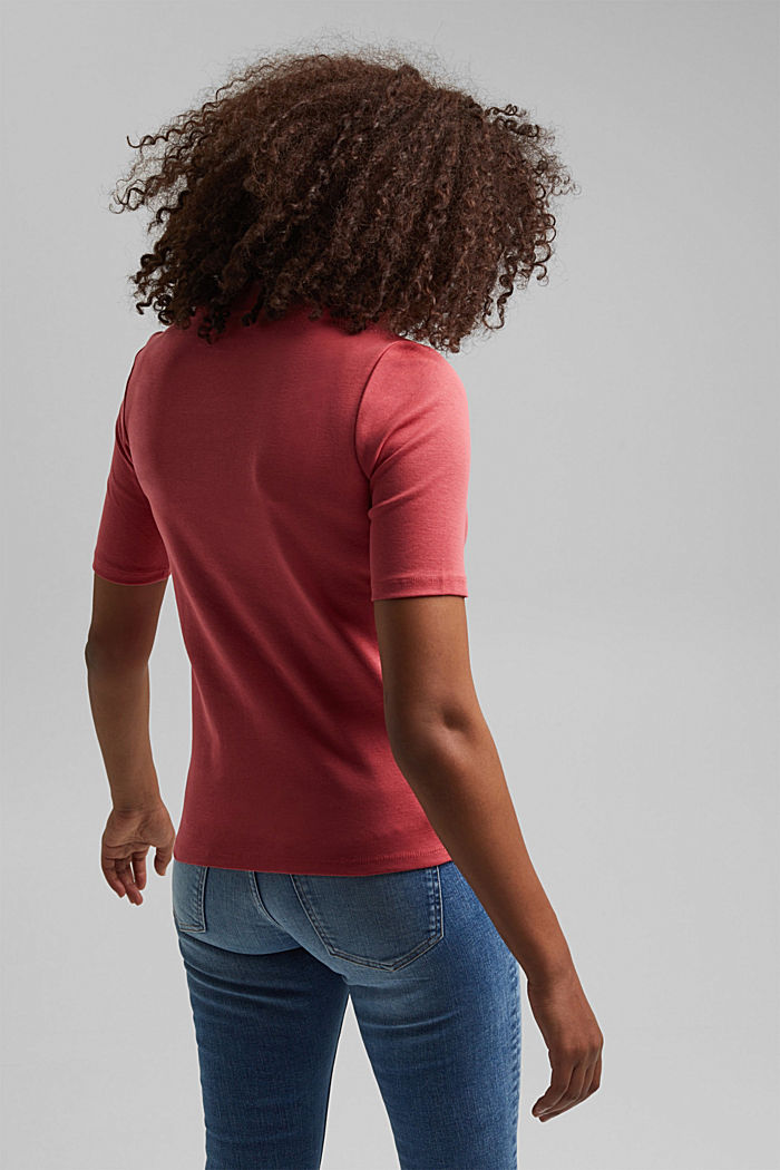 Ribbed T-shirt with a band collar, 100% organic cotton, BLUSH, detail image number 3