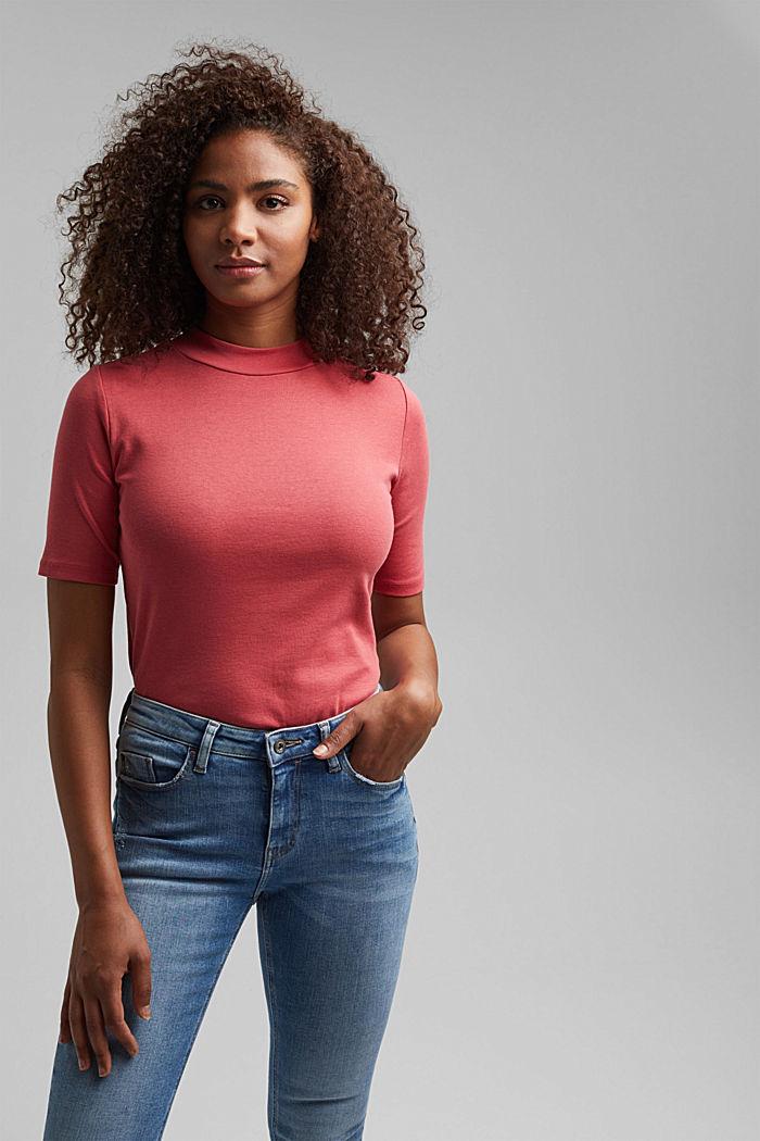 Ripp-Shirt mit Stehkragen, 100% Bio-Baumwolle